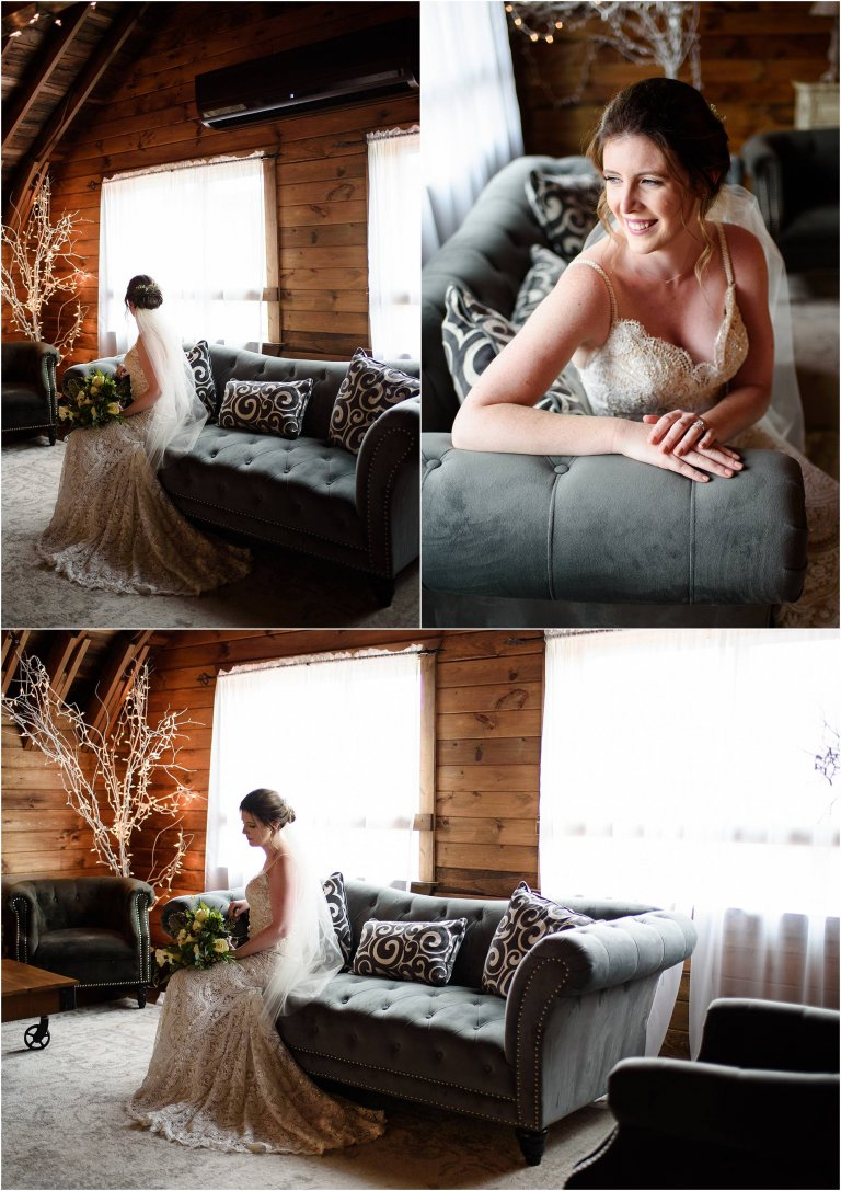 PA barn wedding venue photographer Crystal Satriano photographs portraits of the bride prior to the wedding