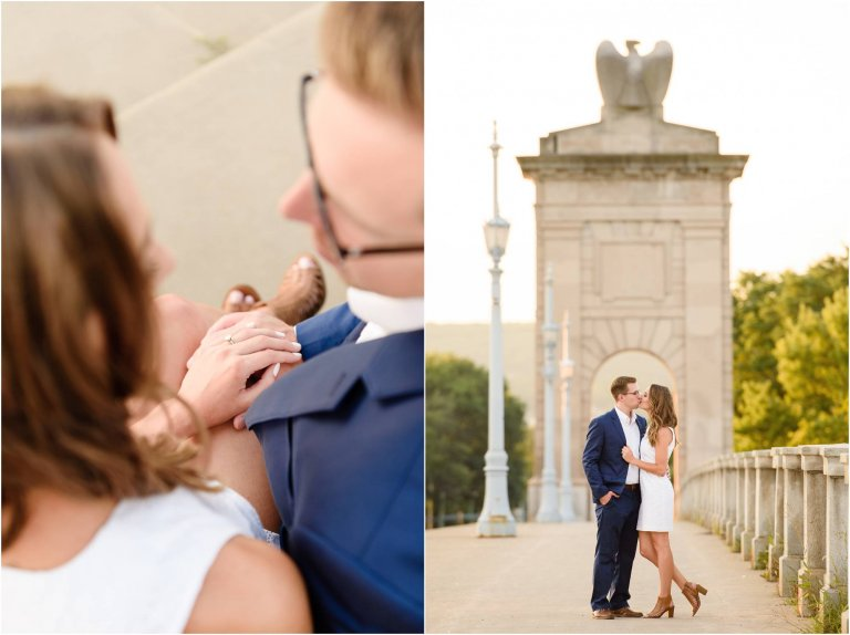 Couple walks along bridge in by Engagement Photographer Wilkes Barre Crystal Satriano