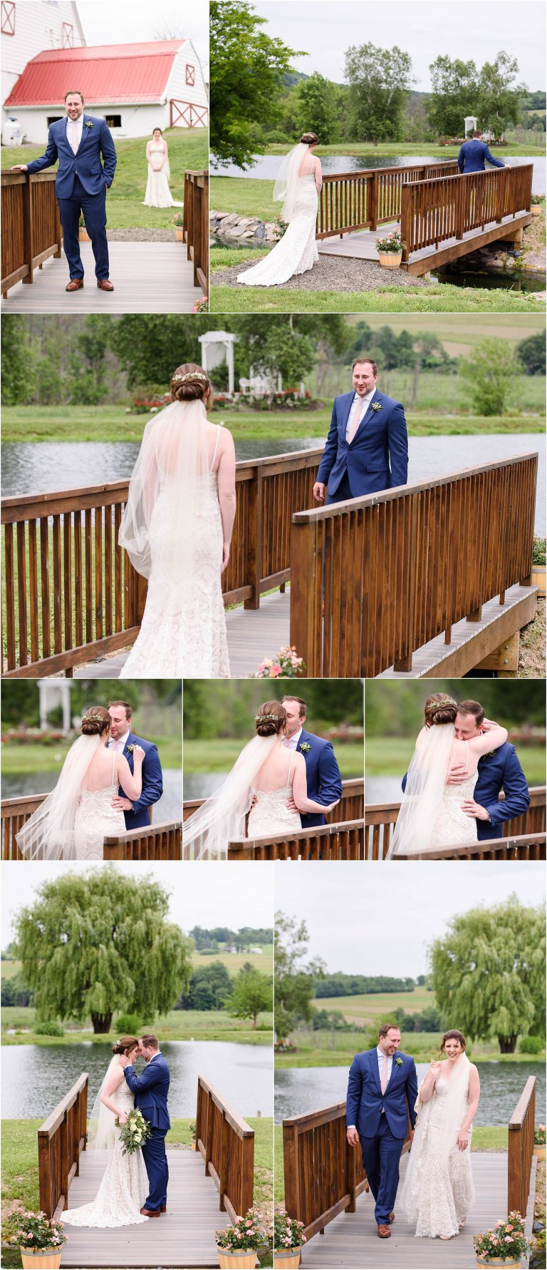 PA barn wedding venue photographer Crystal Satriano captures the first look of a bride and groom