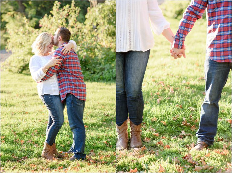 Couple poses for photos for engagement session with back lighting.