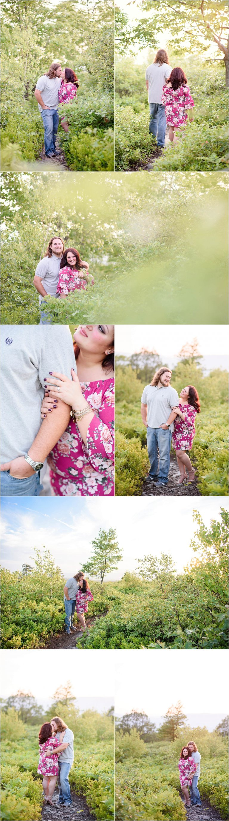 sunset engagement session hike with NEPA photographer Crystal Satriano, the couple, and their dog.