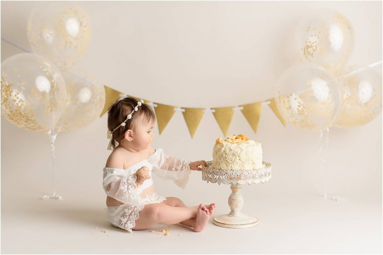 boho cake smash session scranton baby photographer