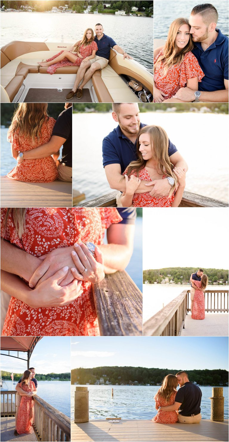 Harvey's Lake engagement session photographed by Crystal Satriano on a dock by the lake near sunset