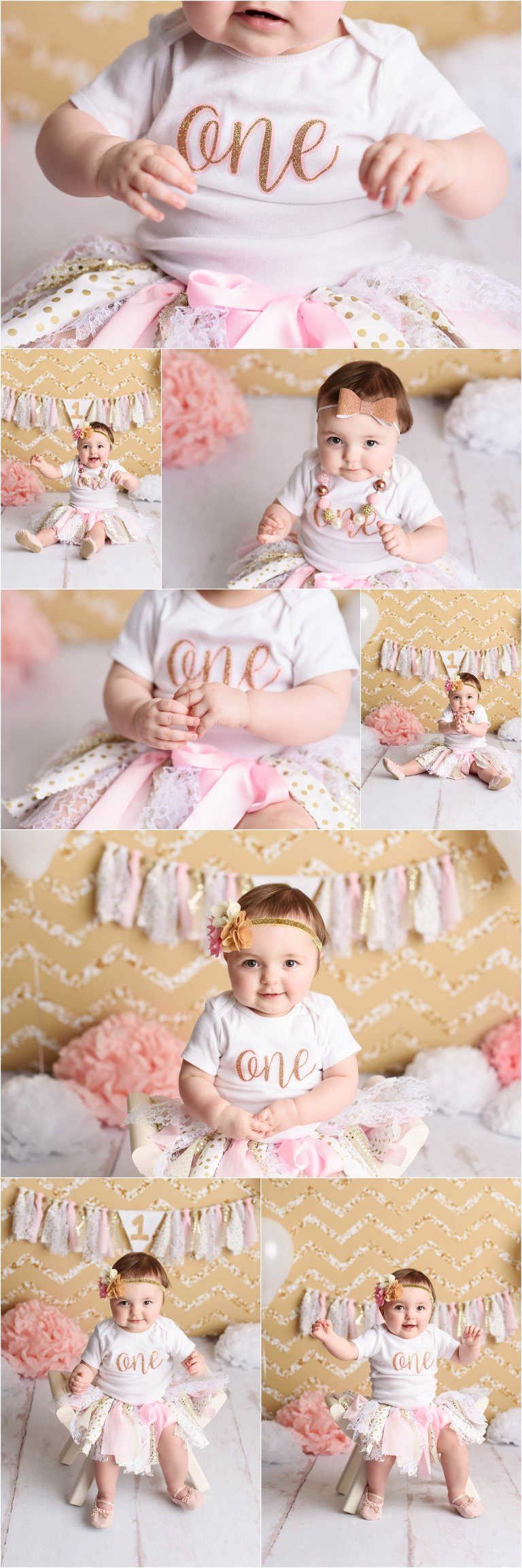 Girl first birthday photos in gold and pink tutu with glitter by Moscow PA photographer Crystal Satriano