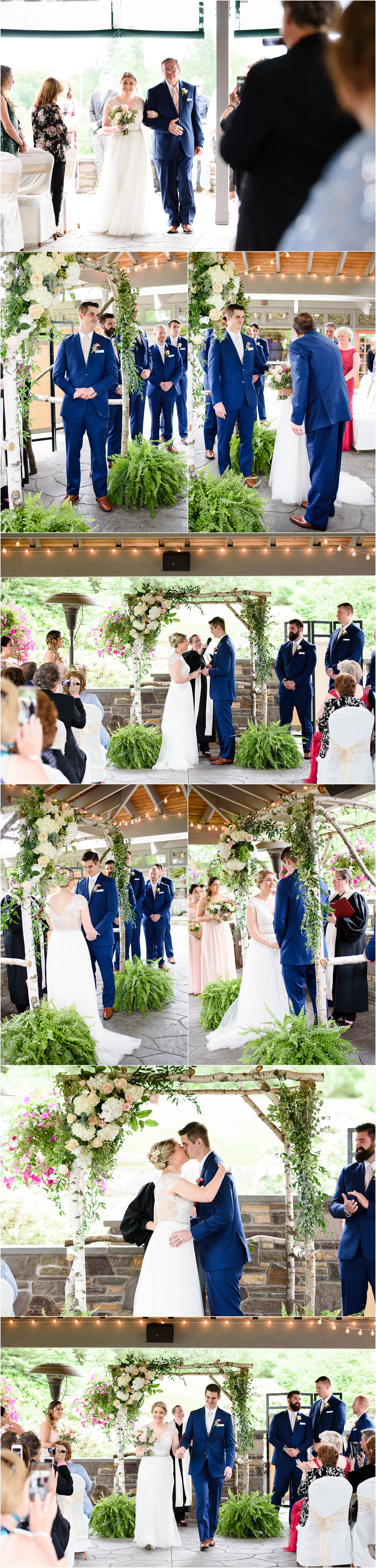 Clarks Summit PA wedding photographer Crystal Satriano photographs a ceremony at Glen Oak Country Club