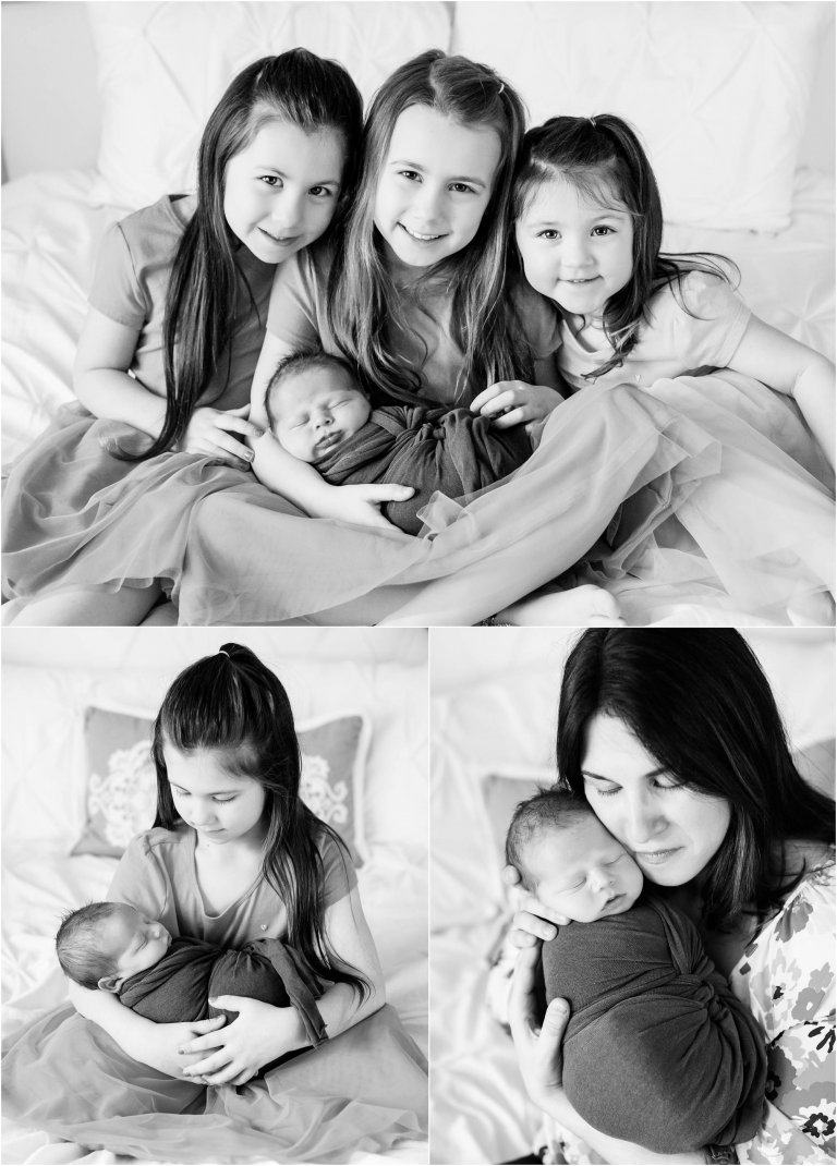 Mom, newborn, and sisters portraits on white bed by Moscow baby photographer Crystal Satriano