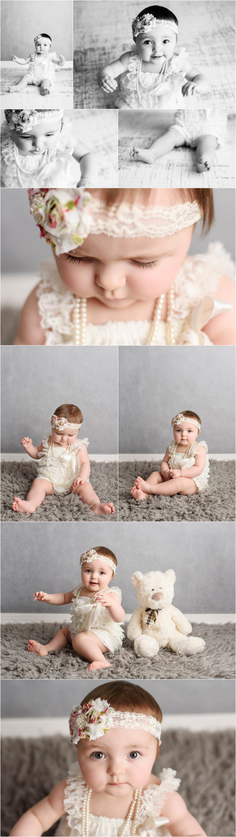 Girl First Birthday Photos with lace outfit by Crystal Satriano Photography in Moscow PA