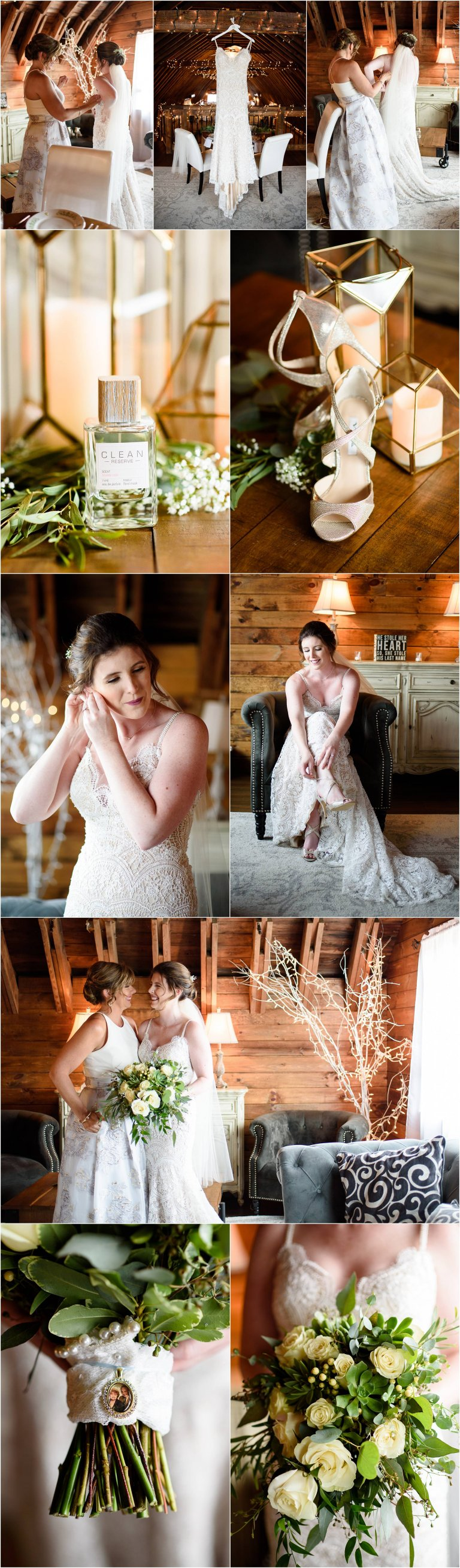 PA barn wedding venue photographer Crystal Satriano captures images of the bride getting ready