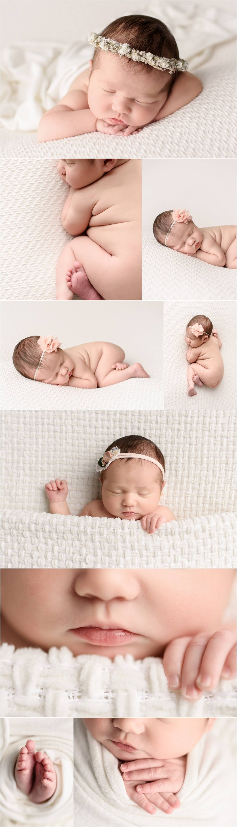 newborn photographer moscow pa captures bare bottom baby girl posed on cream backdrop.