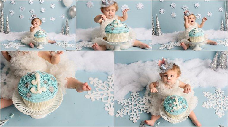 Phenomenal Winter Themed Cake Smash By Crystal Satriano Photography Scranton Pa Funny Birthday Cards Online Elaedamsfinfo