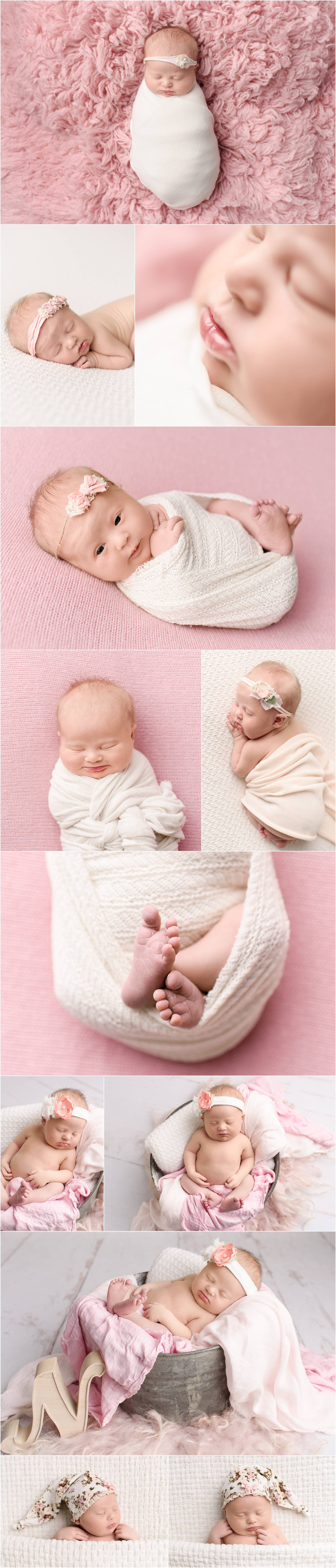 Baby girl wrapped in white on pink backdrop captured by Scranton PA newborn photographer Crystal Satriano