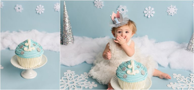 best NEPA baby photo studio baby eating with cake photo by Crystal Satriano Photography