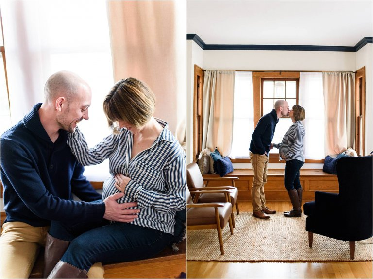 lifestyle maternity session couple in living room moscow pa maternity photographer