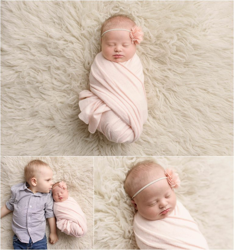Baby girl and brother laying on fur blanket captured by Scranton PA newborn photographer Crystal Satriano