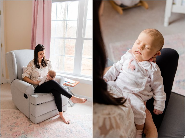 Mother holds her newborn baby while sitting in a rocking chair by a window during in-home lifestyle newborn session.