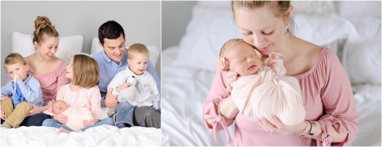 Scranton Newborn Photographer Crystal Satriano captures Mom and new baby girl in pink with family