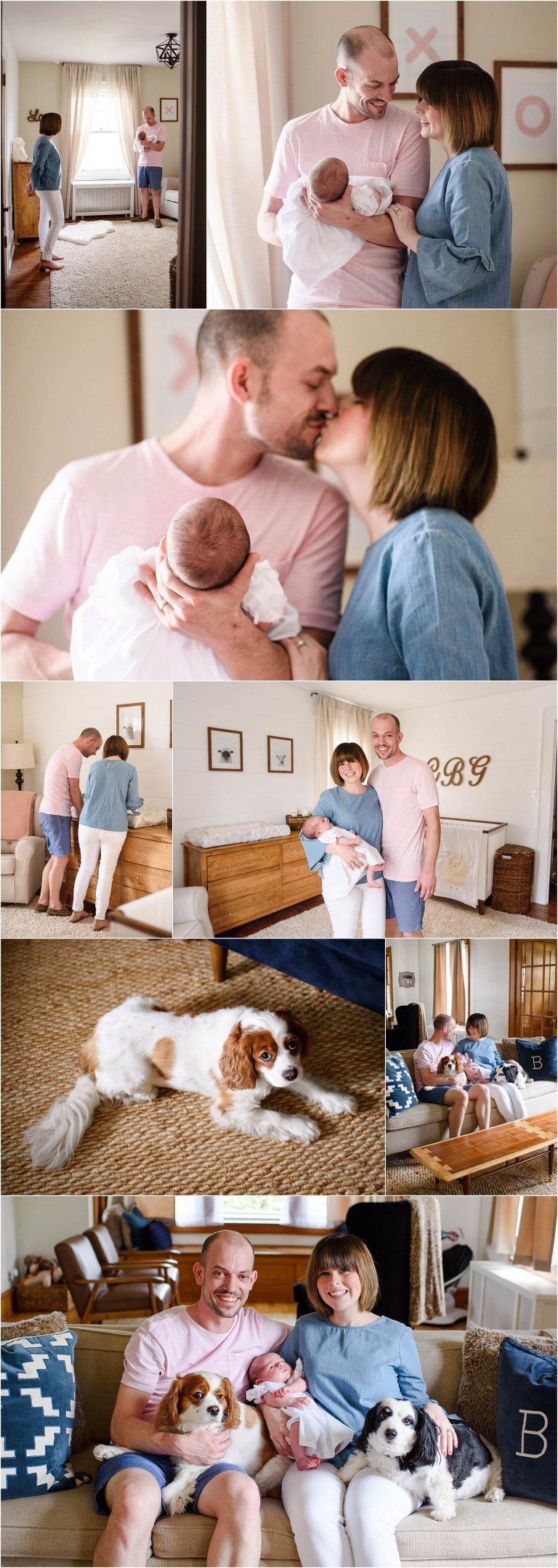 Father and Mother care for newborn baby girl in nursery by NEPA lifestyle session photographer Crystal Satriano