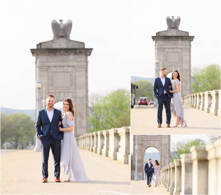 wilkes barre engagement session on the bridge