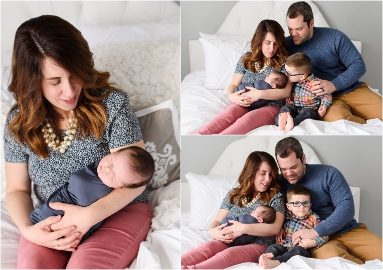 Scranton newborn photographer family on bed with baby photo by Crystal Satriano Photography