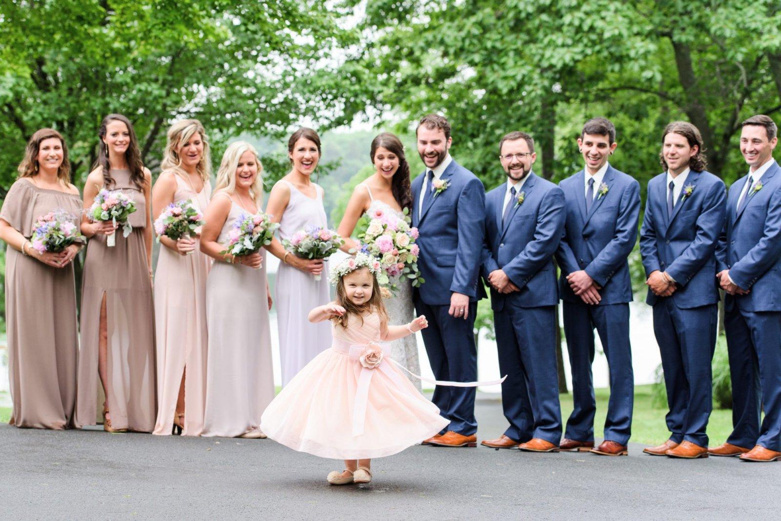 scranton pa wedding photographer bridal party with flower girl