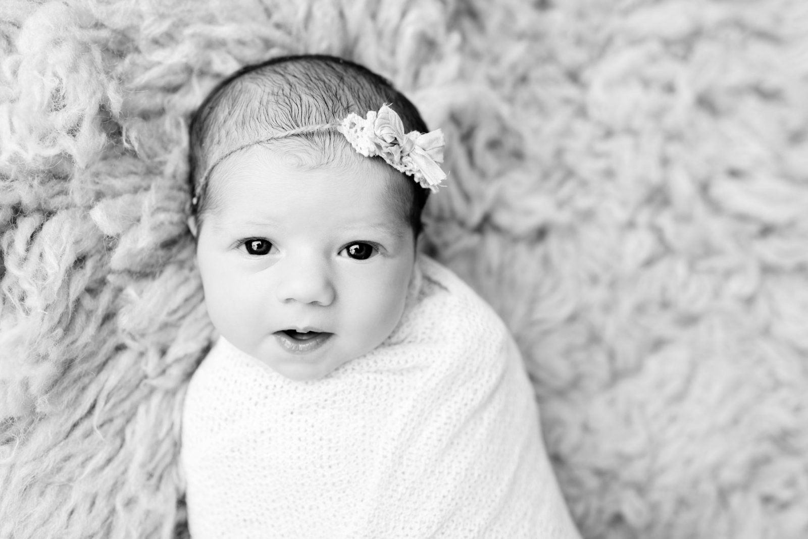newborn photographer scranton pa baby eyes open