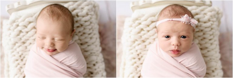 Two different expressions on baby girl's face by Scranton Newborn Photographer Crystal Satriano