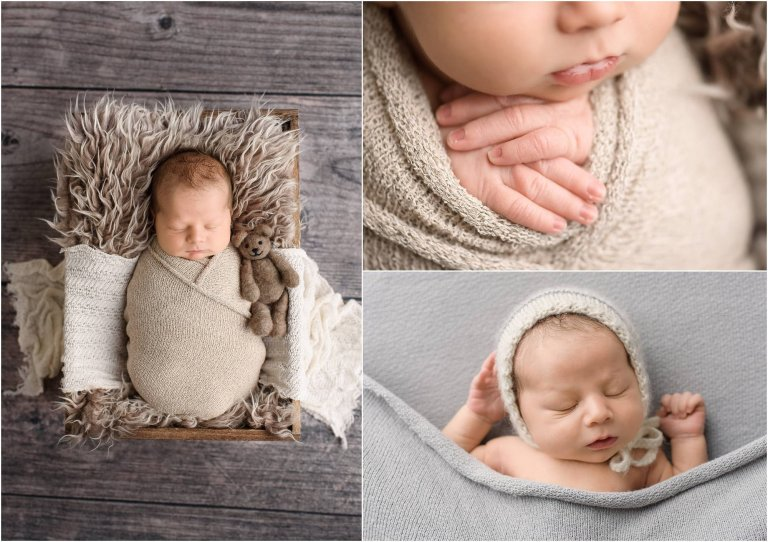 Portraits of newborn in tan and gray cloth wrap by Moscow Baby Photographer Crystal Satriano