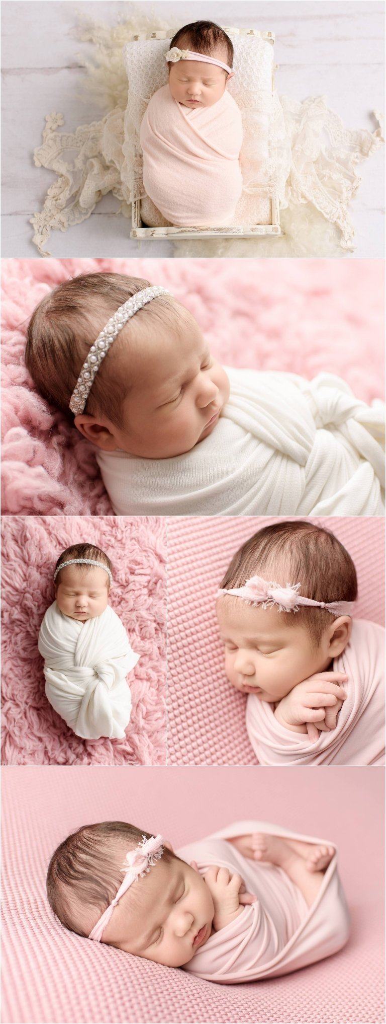 newborn photographer moscow pa captures baby girl posed on pink fur and swaddled
