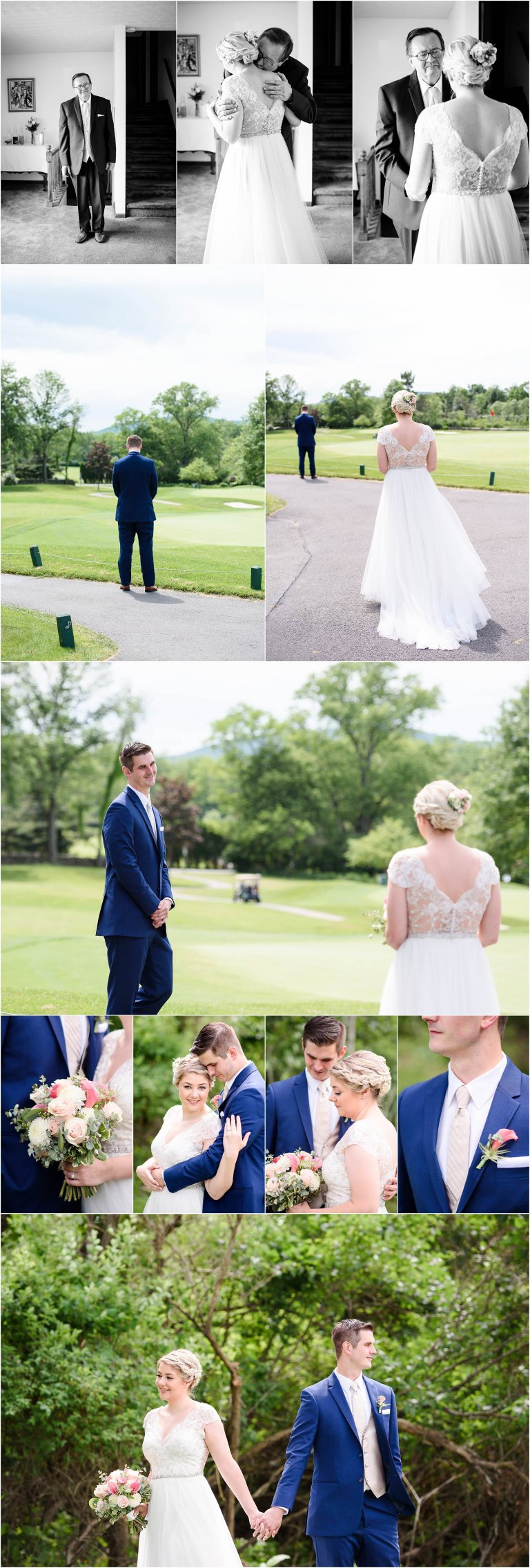 Clarks Summit PA wedding photographer Crystal Satriano captures the bride and groom seeing eachother for the first time.
