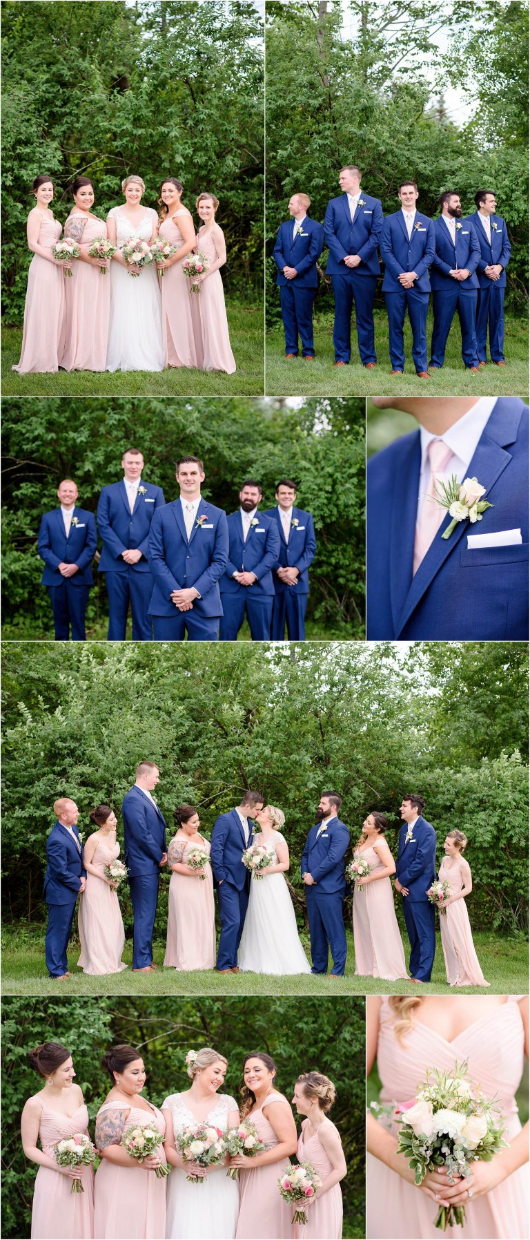 Clarks Summit PA wedding photographer Crystal Satriano captures images of the entire bridal party in blue and blush pink.
