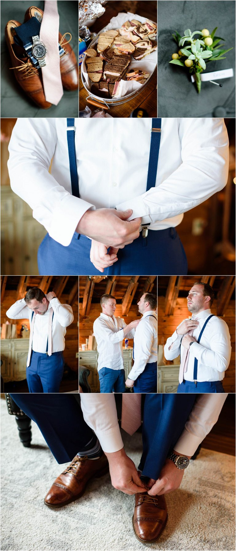 PA barn wedding venue photographer Crystal Satriano photographed the groom getting ready with the help of a groomsman