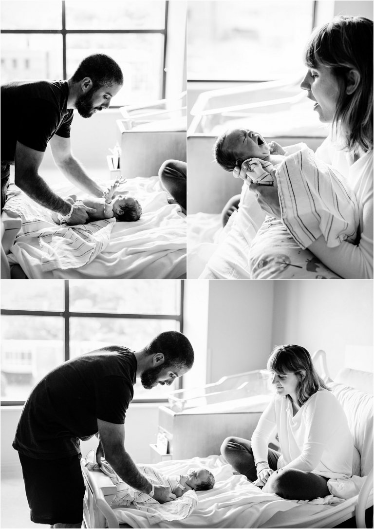 Mother and father on hospital bed with newborn in Moses Taylor Hospital.