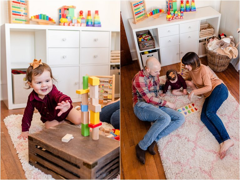 Photos of a family playing blocks and doing a puzzle during lifestyle family session.